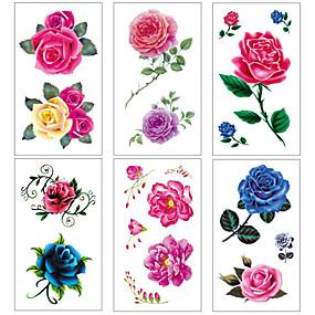 economico Tatuaggi e body art-6 pcs Tatuaggi temporanei Resistente all'acqua / Stile Mini / Sicurezza Viso / Corpo / braccia Adesivo per il trasferimento dell'acqua Colori per body painting