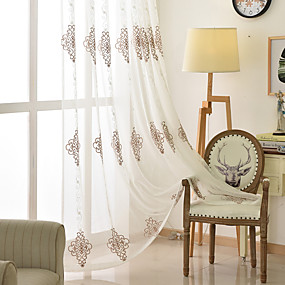 cheap Sheer Curtains-Two Panel European Style Embroidered Yarn Curtain Semi-Transparent Living Room Bedroom Study Curtain
