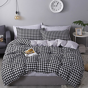 cheap Geometric Duvet Covers-Houndstooth Bedding Black White Bedding Sets Hounds Tooth Check Duvet Cover Sets Cotton Bedding Geometric Pattern Printed Single Full Queen King Size