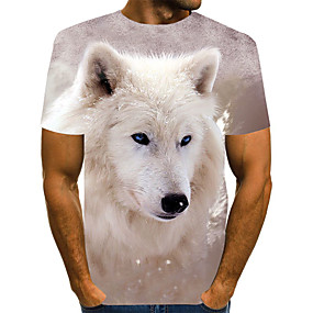 cheap Athleisure Wear-Men's T shirt Shirt Color Block Abstract Animal Plus Size Print Short Sleeve Daily Tops Basic Exaggerated Round Neck Rainbow