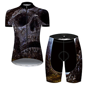 cheap Cycling & Motorcycling-21Grams Women's Short Sleeve Cycling Jersey with Shorts Summer Nylon Polyester Black+White Sugar Skull Skull Bike Clothing Suit 3D Pad Ultraviolet Resistant Quick Dry Breathable Reflective Strips