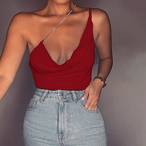 cheap Athleisure Wear-Women's Camisole Solid Colored Sequins V Neck Sexy Streetwear Tops Red Blushing Pink
