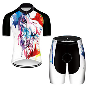 cheap Cycling & Motorcycling-21Grams Men's Short Sleeve Cycling Jersey with Shorts Summer Nylon Polyester Black+White Gradient Wolf Animal Bike Clothing Suit Ultraviolet Resistant Quick Dry Breathable Reflective Strips Back