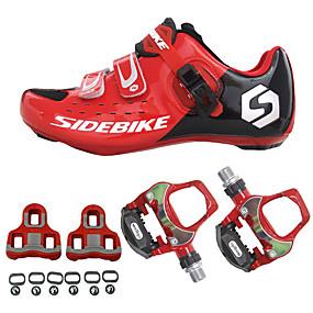baratos Liquidação-SIDEBIKE Sapatilhas de Ciclismo com Travas & Pedal Tênis para Ciclismo Nailom Fibra de Carbono Respirável Almofadado Ultra Leve (UL) Ciclismo Vermelho / Preto Homens Sapatos para Ciclismo