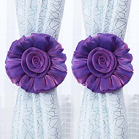 cheap Curtains & Drapes-2Pcs Household Curtain Straps Sweet Flower Design Decorative Curtain Tiebacks Curtain Holder