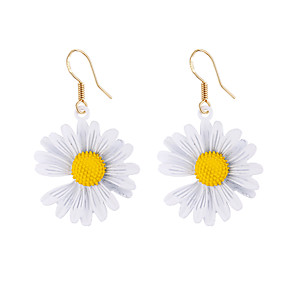cheap Holiday-Women's Drop Earrings Ear Tunnels Braided Flower Cute Africa Oversized Resin Earrings Jewelry White / Yellow / Light Green For Street Bar Festival 2pcs