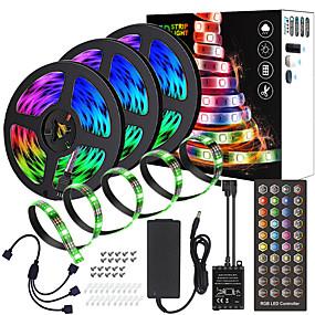 billiga Lysremsor och -strängar-zdm 15m (3 * 5m) högkvalitativ svart pcb musik timing synkron kontroll vattentät flexibel ljusstång 5050 rgb ir 40 nyckelkontroll med12v 6a adapter kit