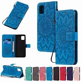cheap Samsung Case-Case For Samsung Galaxy S20 Plus / S20 Ultra / S20 Wallet / Card Holder / with Stand Sun Flower PU Leather / TPU for Galaxy A01 / Galaxy A21 / Galaxy A51 / Galaxy A71 / A91 / A81/ A70E / A41 / A11