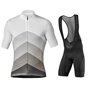 cheap Cycling & Motorcycling-21Grams Men's Short Sleeve Cycling Jersey with Bib Shorts Summer Black+White Patchwork Gradient Bike Clothing Suit UV Resistant 3D Pad Quick Dry Breathable Reflective Strips Sports Patchwork Mountain