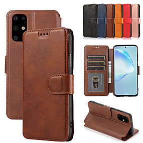 cheap Samsung Case-Magnetic Flip Wallet Leather Case For Samsung Galaxy S20 Ultra S20 Plus A20e A51 A71 A91 S10 lite A81 Note 10 lite A41 A21 A11 A01 Note 9 Note 8 S10e S9 S8 Card Holders Phone Cases Cover with Stand