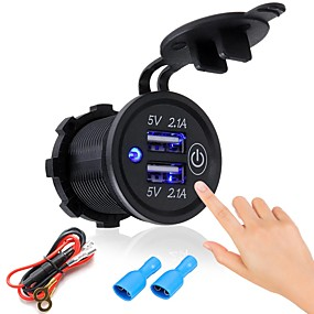 billige Bil Oplader-p2-s touch switch 2.1a2.1a dual usb bil motoriseret opladet mobiltelefon 12-24v