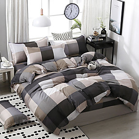 cheap Geometric Duvet Covers-Simple wind-printed plaid mosaic pattern bedding four-piece set quilt sheet pillow cover dormitory single double