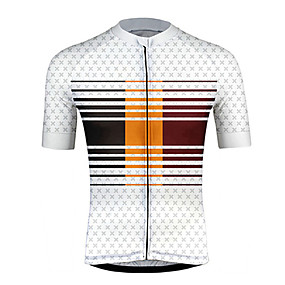 cheap Cycling & Motorcycling-21Grams Men's Short Sleeve Cycling Jersey Summer Polyester Black+White Stripes Patchwork Bike Jersey Top Mountain Bike MTB Road Bike Cycling UV Resistant Quick Dry Breathable Sports Clothing Apparel