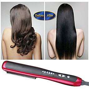 cheap Hair Straightener-Hair Straightener Brush Comb Ionic Hair & Beard Straightening Brush Temperature Control Prevent Scalding
