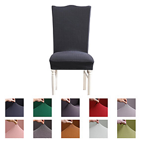 cheap Slipcovers-Solid Knitted Super Soft Chair Cover Stretch Removable Washable Dining Room Chair Protector Slipcovers Home Decor Dining Room Seat Cover