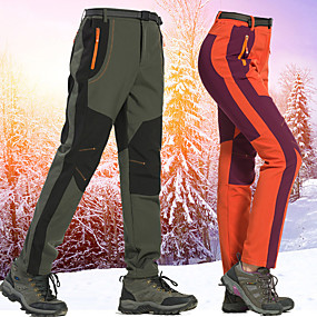 cheap Camping, Hiking & Backpacking-Women's Hiking Pants Trousers Softshell Pants Patchwork Winter Outdoor Thermal Warm Windproof Fleece Lining Warm Softshell Pants / Trousers Bottoms Purple Army Green Orange Camping / Hiking Hunting