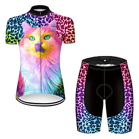 cheap Cycling & Motorcycling-21Grams Women's Short Sleeve Cycling Jersey with Shorts Summer Nylon Polyester Black / Red Rainbow Gradient Wolf Bike Clothing Suit Ultraviolet Resistant Quick Dry Breathable Reflective Strips Back