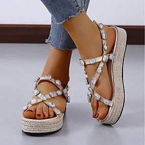 billige Damesko-Dame Sandaler Flat sandal Sommer Flat hæl Rund Tå Daglig PU Hvit / Svart