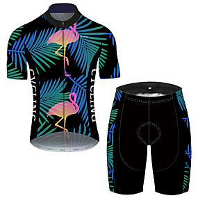 cheap Cycling & Motorcycling-21Grams Men's Short Sleeve Cycling Jersey with Shorts Summer Black / Blue Flamingo Floral Botanical Animal Bike Clothing Suit UV Resistant 3D Pad Quick Dry Breathable Reflective Strips Sports Flamingo