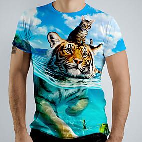 cheap Athleisure Wear-Men's Tee T shirt Shirt 3D Print Graphic Tiger Animal Short Sleeve Causal Tops Basic Elegant White Blue Navy Blue