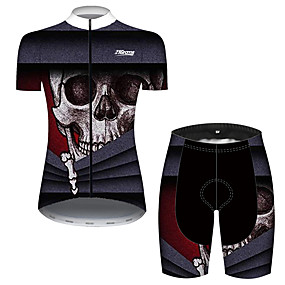 cheap Cycling & Motorcycling-21Grams Women's Short Sleeve Cycling Jersey with Shorts Summer Black / Red Sugar Skull Skull Bike Clothing Suit 3D Pad Ultraviolet Resistant Quick Dry Breathable Reflective Strips Sports Patterned