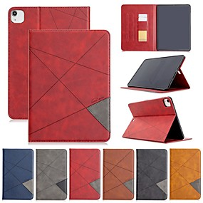 cheap iPad case-Case For Apple iPad Air / Mini 3/2/1 /Mini 4/5 Card Holder / with Stand / Flip Full Body Cases Solid Colored / Geometric Pattern PU Leather For iPad Pro 11 2020/New Air 2019 10.5/ipad 10.2/Pro 9.7