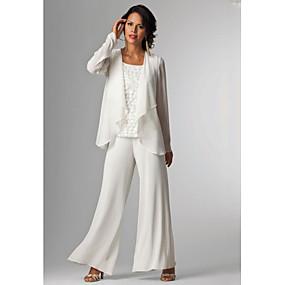 billige Daily Deals-Pantsuit Kjole til brudens mor Elegant Plusstørrelse Bateau Neck Gulvlang Chiffon Uden ærmer med Perlearbejde 2020