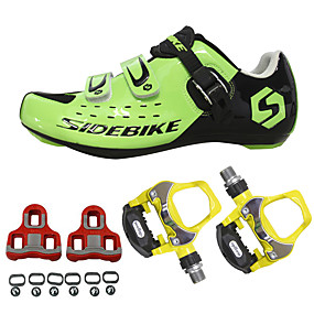 cheap Sports & Outdoor Super Clearance-SIDEBIKE Adults' Cycling Shoes With Pedals & Cleats Road Bike Shoes Nylon Breathable Cushioning Cycling Black Red Green Men's Cycling Shoes / Breathable Mesh / Hook and Loop