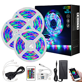 cheap WiFi Control-Intelligent Dimming App Control Flexible Led Strip Lights Waterproof 15M(3x5M) 2835 RGB SMD IR 24 Key Controller with Installation Package 12V 3A Adapter Kit