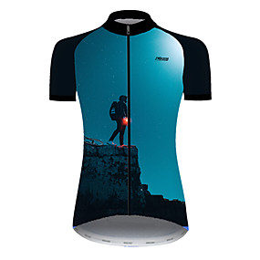 cheap Cycling & Motorcycling-21Grams Women's Short Sleeve Cycling Jersey Summer Nylon Polyester Black / Blue Funny Bike Jersey Top Mountain Bike MTB Road Bike Cycling Ultraviolet Resistant Quick Dry Breathable Sports Clothing