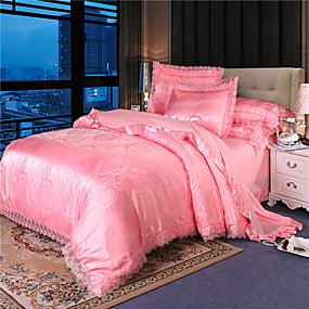 cheap Bedding Sets-European-style embroidered lace Satin Jacquard four-piece set days Silk Satin bedspread sheet sheet double wedding bedding 1.8 m