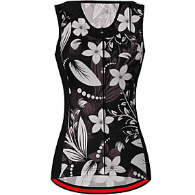 cheap Women-21Grams Women's Sleeveless Cycling Jersey Cycling Vest Summer Spandex Polyester Black+White Floral Botanical Bike Jersey Top Mountain Bike MTB Road Bike Cycling UV Resistant Quick Dry Breathable