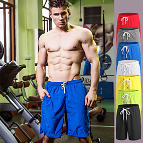 cheap Running & Jogging-Men's Running Shorts Athletic Shorts Bottoms Drawstring Fitness Gym Workout Exercise & Fitness Quick Dry Breathable Soft Sport Solid Color White Black Yellow Red Blue Green