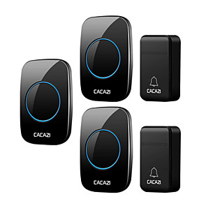 cheap Doorbell Systems-CACAZI Self-Powered Wireless Doorbell Waterproof 200M Remote No Battery Smart House Doorbell Family Turquoise Doorbell Ring Tone