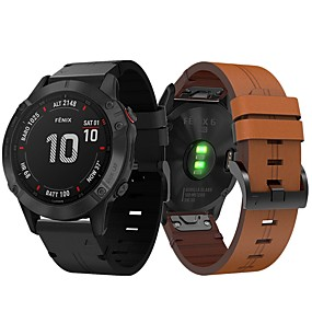 cheap Smartwatch Bands-Smartwatch Band for Garmin Fenix 6 / 6pro / Fenix5 / 5 Plus / Forerunner 945 /935 /S60 Leather Loop Genuine Leather Sport Business Band High-end Fashion Comfortable Health Wrist Straps 22MM