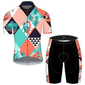 cheap Cycling & Motorcycling-21Grams Men's Short Sleeve Cycling Jersey with Shorts Summer Blue+Yellow Flamingo Floral Botanical Animal Bike Clothing Suit UV Resistant 3D Pad Quick Dry Breathable Reflective Strips Sports Flamingo