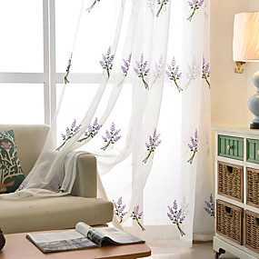 cheap Sheer Curtains-Two Panel Korean Pastoral Style Lavender Embroidered Yarn Curtain Semi-Transparent Living Room Bedroom Children's Room Yarn Curtain