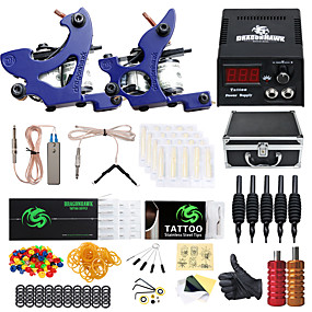 cheap Starter Tattoo Kits-DRAGONHAWK Professional Tattoo Kit Tattoo Machine - 2 pcs Tattoo Machines LCD power supply 2 cast iron machine liner & shader / Case Included