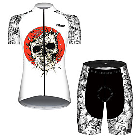cheap Cycling & Motorcycling-21Grams Women's Short Sleeve Cycling Jersey with Shorts Summer Black+White Sugar Skull Skull Bike Clothing Suit 3D Pad Ultraviolet Resistant Quick Dry Breathable Reflective Strips Sports Patterned