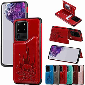 cheap Samsung Case-Case For Samsung Galaxy S20 / S20 Plus / S20 Ultra Wallet / Card Holder / with Stand Back Cover Skull Embossing PU Leather / TPU for Galaxy S10 / S10E / S10 Plus / A50(2019) / A30S(2019)