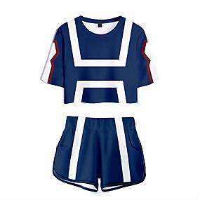 cheap Casual Wear-Inspired by Cosplay Bakugou Katsuki Pants Cosplay Costume Pure Cotton Print 2 Piece Shorts For Women's / T-shirt
