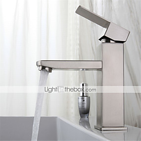 cheap Bathroom Sink Faucets-Stainless steel washbasin faucet hot and cold drawing square single hole washbasin mixing faucet