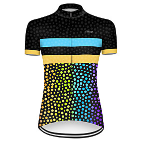 cheap Cycling & Motorcycling-21Grams Women's Short Sleeve Cycling Jersey Summer Nylon Polyester Black / Yellow Polka Dot Gradient Bike Jersey Top Mountain Bike MTB Road Bike Cycling Ultraviolet Resistant Quick Dry Breathable