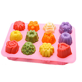 cheap Cake Molds-12 Grid Silicone Ice Maker Mould Chocolate Mold Tray Creative Rose/Heart/Flower/Round/Square Shaped Ice Cube Cake decoration Mold