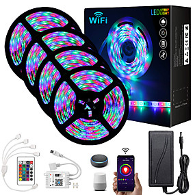 cheap LED Strip Lights-ZDM® 4x5M Light Sets RGB Strip Lights 1620 LEDs 2835 SMD 8mm 1 24Keys Remote Controller 1x 1 To 4 Cable Connector 1 DC Cables 1 set RGB Christmas New Year's APP Control Cuttable Party 12 V