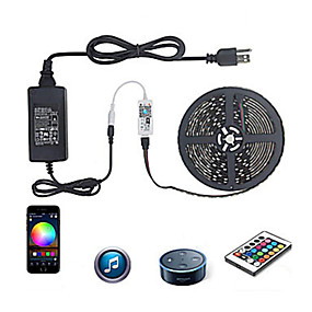 cheap WiFi Control-WIFI Smart LED Strip Lights Kit RGB Tiktok Lights 5050 Tape Light Work with Alexa Google Home WiFi Wireless Smart Phone Controlled LED Set 16.4ft 300 LEDs Rope Light Waterproof 12V 6A Power Supply