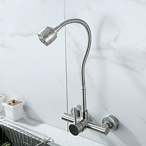 cheap Kitchen Faucets-Wall Mount Faucet with Sprayer Kitchen Faucet Pot Filler Polished Chrome Commercial Single Handle Mixer Tap