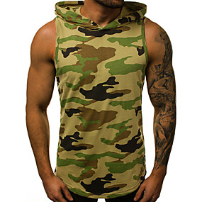cheap Athleisure Wear-Men's Tank Top Shirt Camo / Camouflage Letter Print Sleeveless Sports Tops Basic Military Hooded Army Green Gray