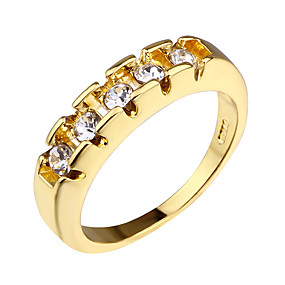 billige Graverte Ringer-personlig tilpasset Klar Kubisk Zirkonium Ring Klassisk Indgraveret Gave Love Festival Geometrisk Form 1pcs Gull