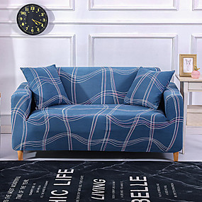 cheap Slipcovers-Line Print Sofa Cover Dustproof All-powerful Slipcovers Stretch Sofa Cover Super Soft Fabric Couch Cover with One Free Pillow Case